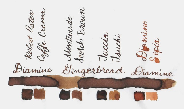 Comparative swatches for Inkvent Day 19 ink Gingerbread