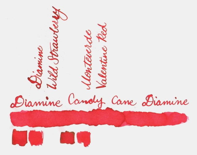 Comparative swatches for Inkvent Day 2 ink Candy Cane