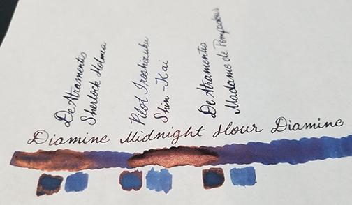 Photograph showing ink sheen for Inkvent Day 20 ink Midnight Hour