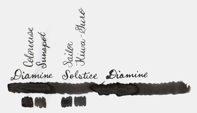 Comparative swatches for Inkvent Day 22 ink Solstice