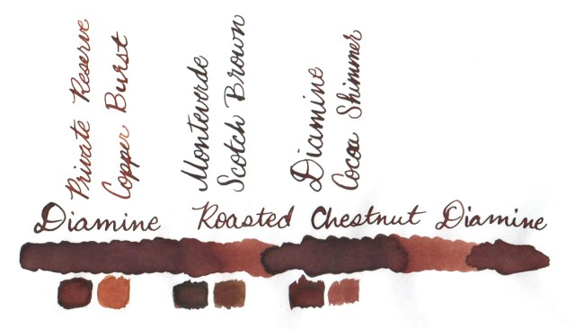 Comparative swatches for Inkvent Day 23 ink Roasted Chestnut
