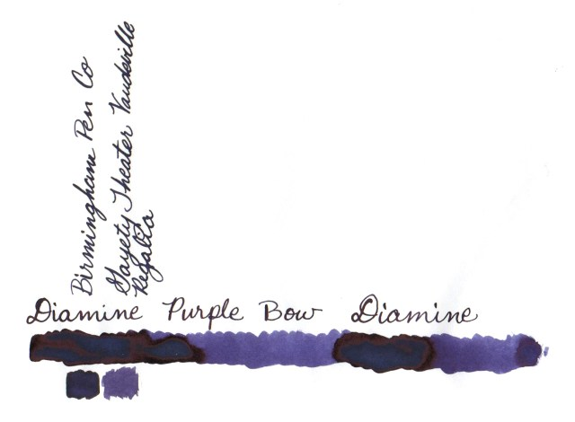 Comparative swatches for Inkvent Day 24 ink Purple Bow