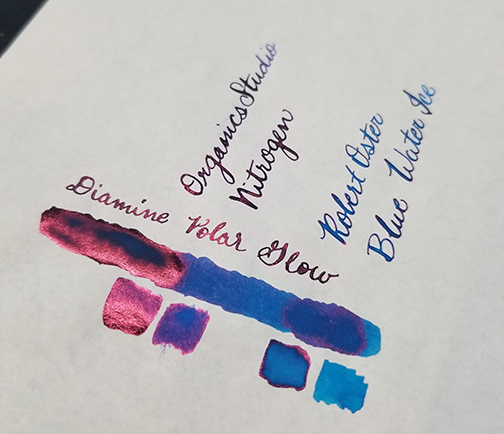 Photograph showing ink sheen for Inkvent Day 4 ink Polar Glow