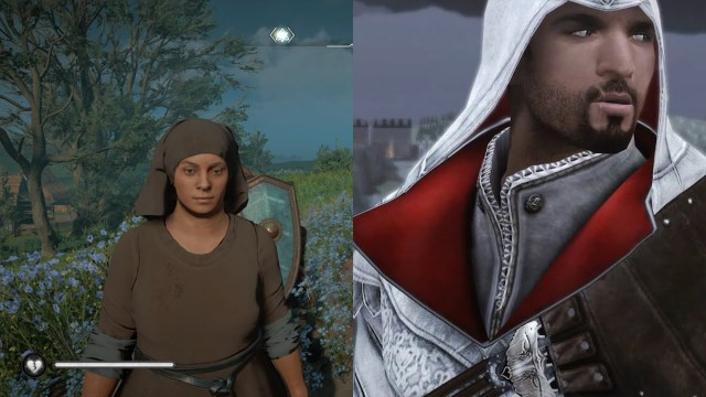 Comparison between a background character in Valhalla (left) and the protagonist of Assassin's Creed II (right)
