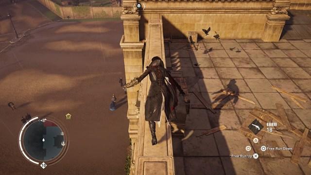 Screenshot showing Evie's skeleton shadow.