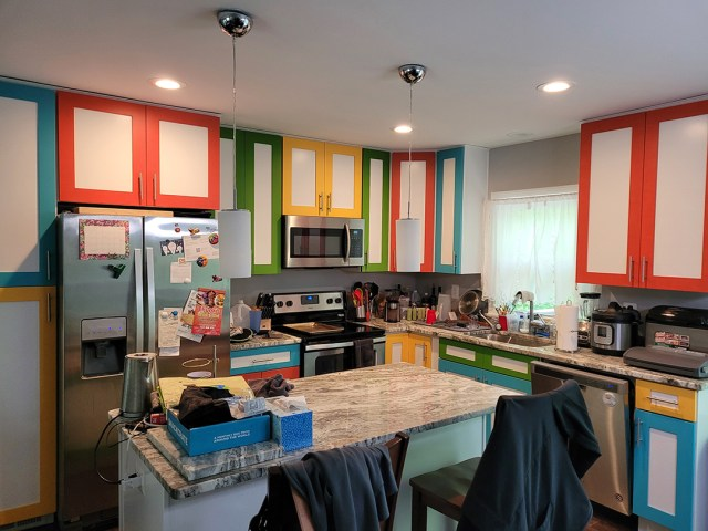 Full view of kitchen with painted cabinets