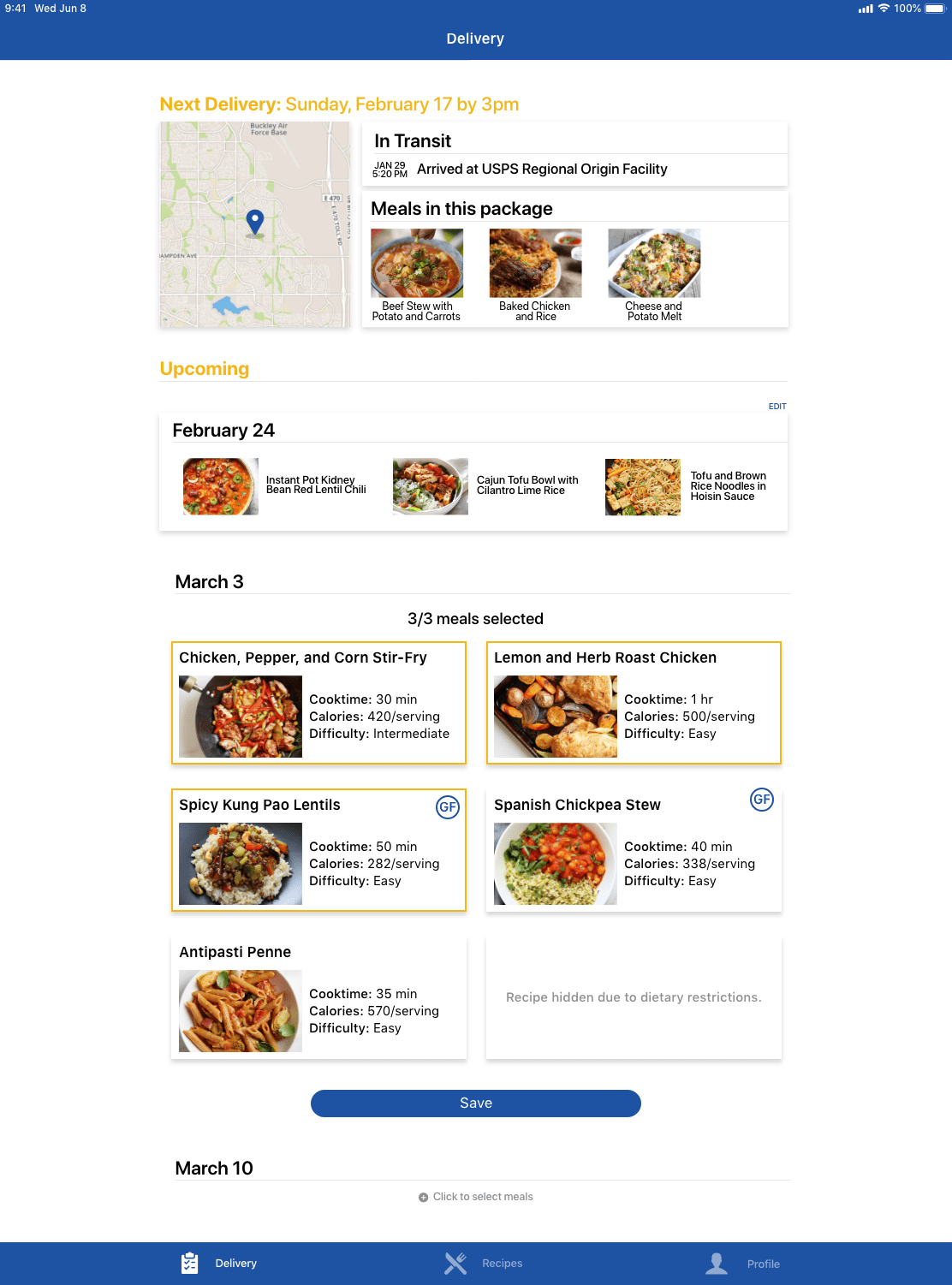 Delivery information and meals selected for a future delivery
