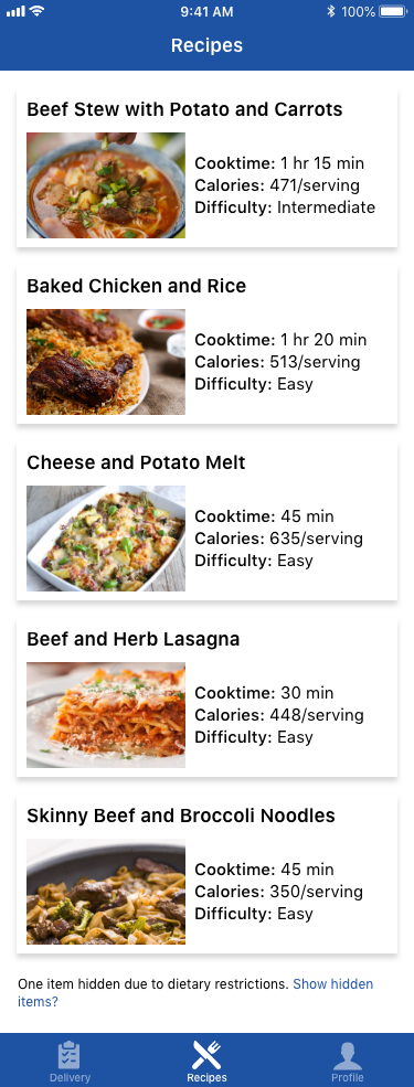 Recipes tab in PEAK Pack mobile