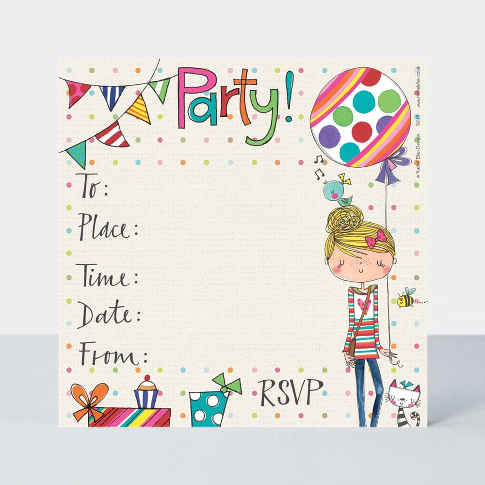 party invite girl balloon