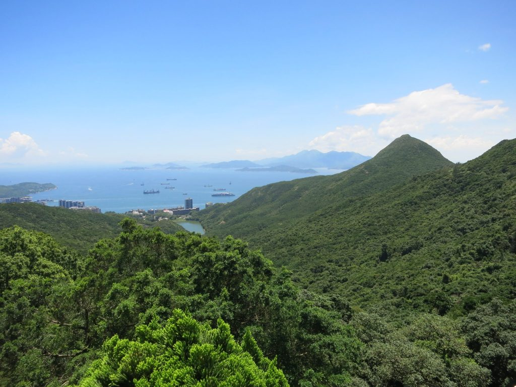 View of forested hills in Hong Kong