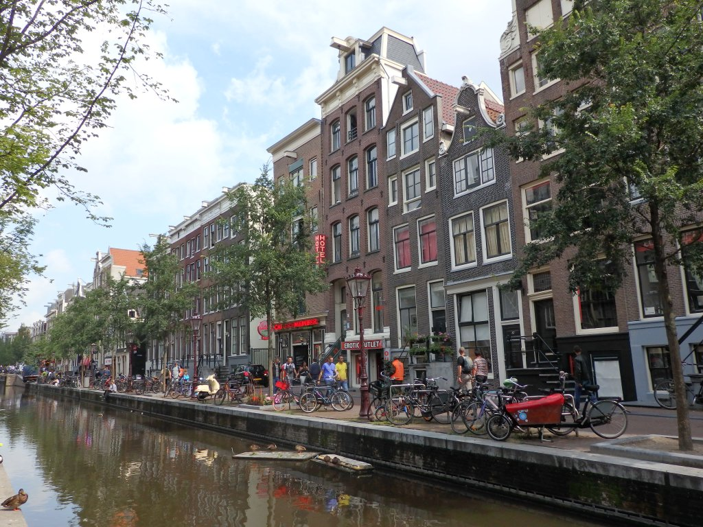 A row of historic buildings in the red light district in Amsterdam