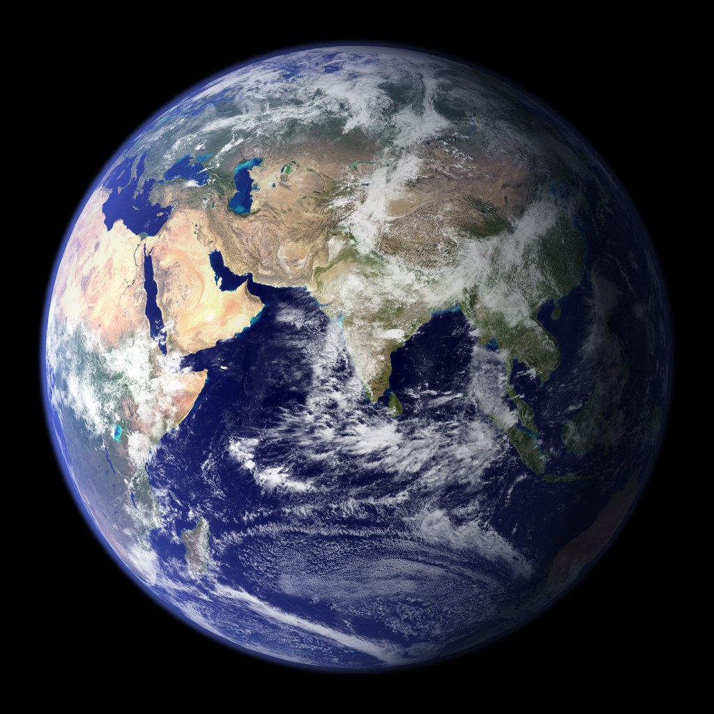"""Blue Marble"" photo of the earth's eastern hemisphere by NASA [Public domain], via Wikimedia Commons"