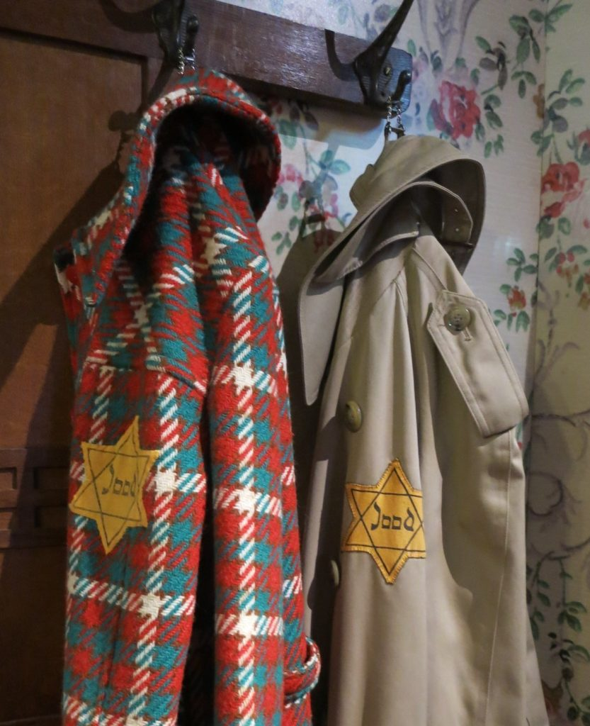 "Coats hang on the coat rack in ""Evas"" house in the Dutch Resistance Museum"