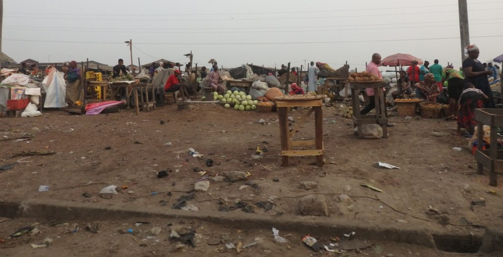 an informal market by the roadside in Lagos