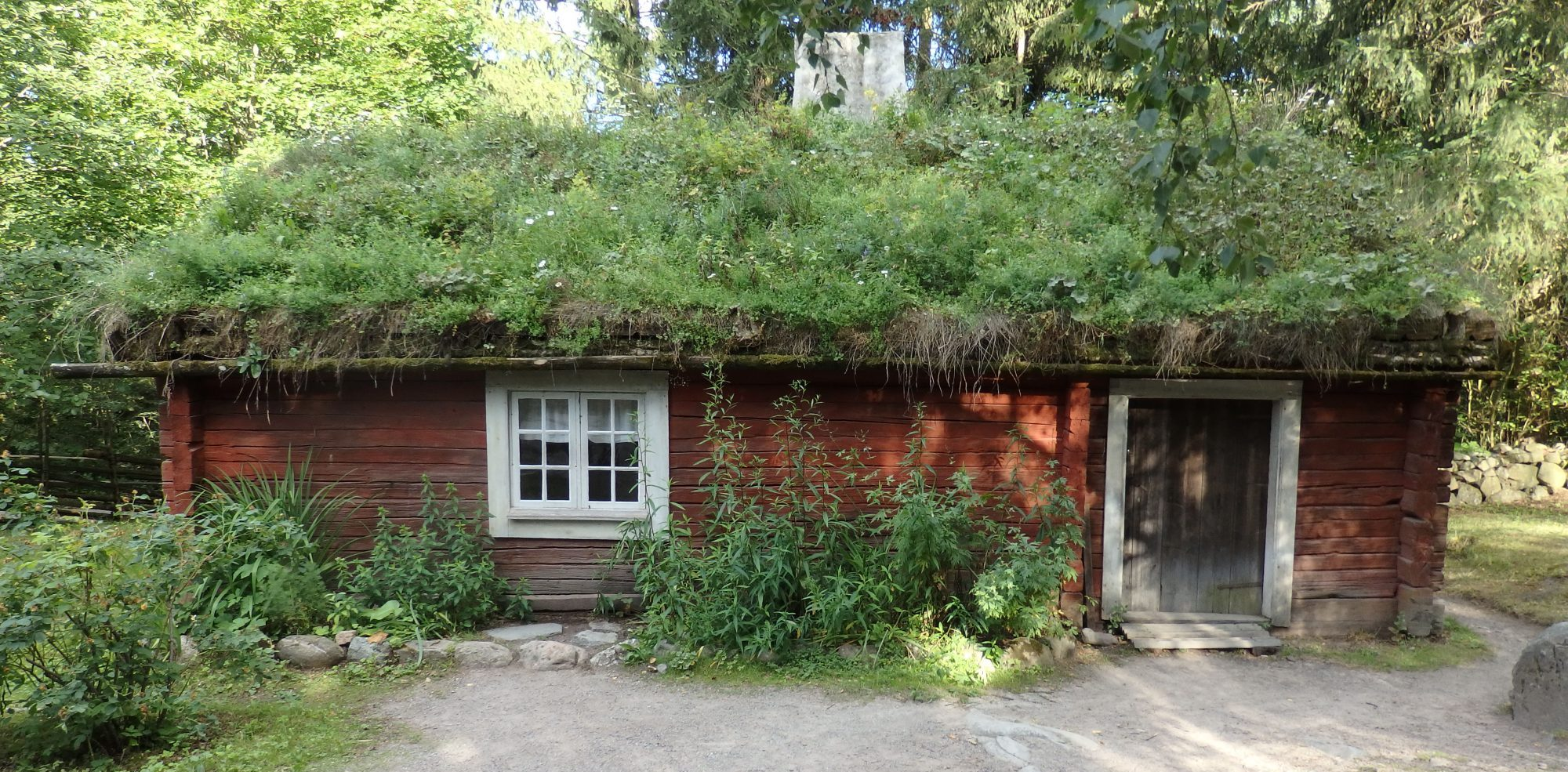 This cottage from the early 1800s comes from Smaland. It housed a soldier. Skansen, Stockholm, Sweden