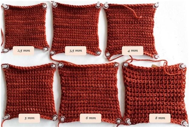 6 échantillons au crochet tunisien en Malabrigo Sock