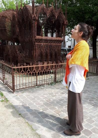 Au fur et à mesure (Gradually), Tunisian crochet shawl, design Rachel Henri