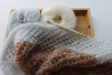 Tunisian crochet wip in mohair