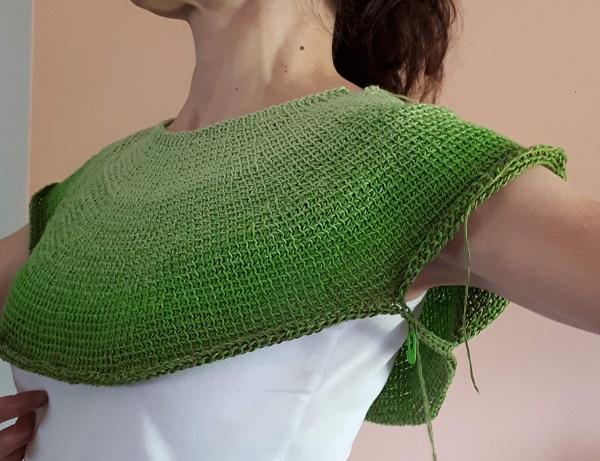 Céleste, Tunisian crochet top down garment