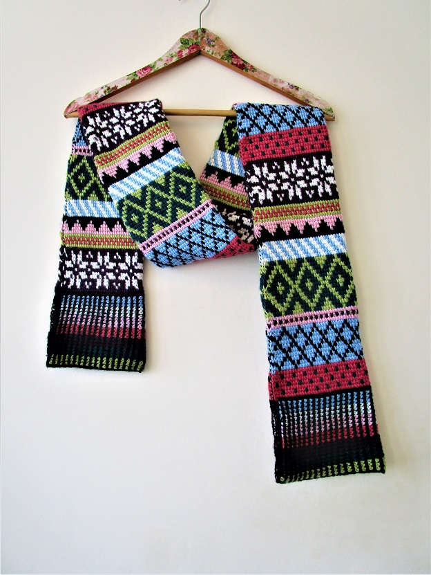 Tunisian Fair Isle scarf, design by Hayley Joanne Robinson