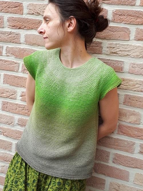 Tunisian crochet sleeveless top Céleste in Scheepjes Whirl