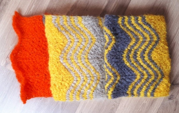 Tunisian crochet scarf in Kid mohair