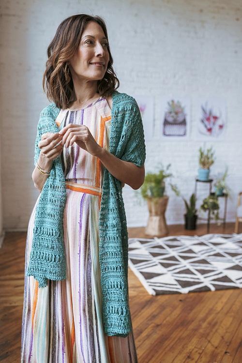 Tunisian crochet Palms stole (design Padma R), photo credit Linette Kielinski for Kelbourne Woolens