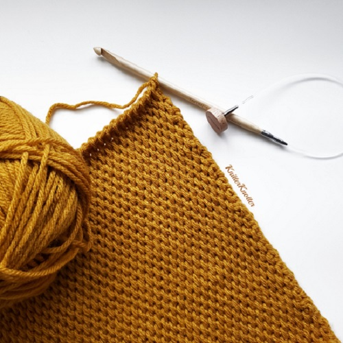 Tunisian crochet full stitch - Pillow - design KnitterKnotter