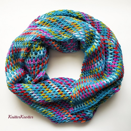 Tunisian crochet Turquoise Fiesta shawl, design by KnitterKnotter
