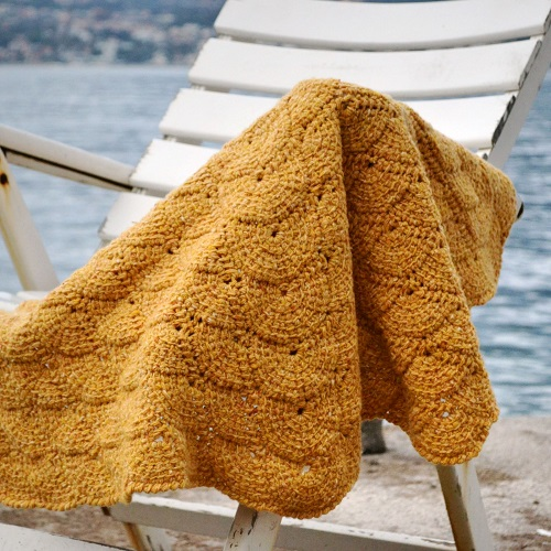 Tunisian Shell Blanket TC short rows by Lena Fedotova