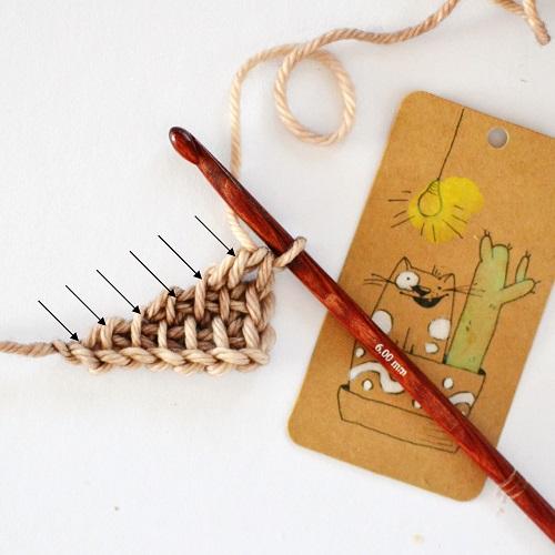 Illustration pour réaliser le motif de coquille au crochet tunisien par Lena Fedotova