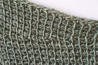 Close up photo of a sample made in thin yarn (option 2)