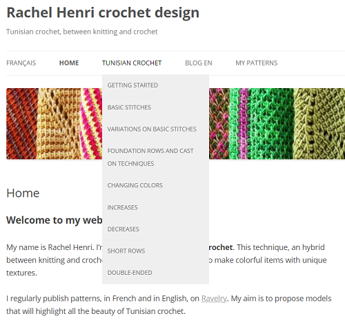 The tab Tunisian crochet has a drop-down menu to give access to plenty of techniques.
