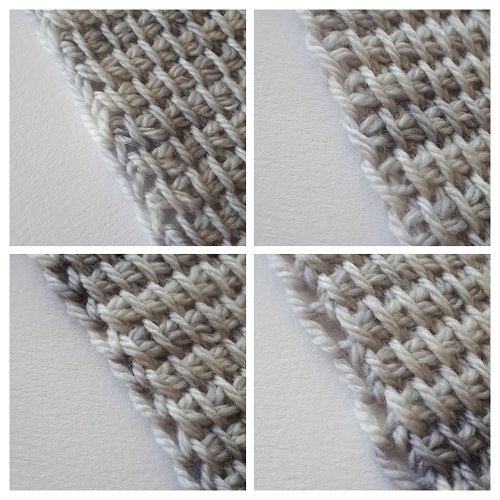 Edge stitches at the end of forward passes in Tunisian crochet: there is more than just one way to make them...