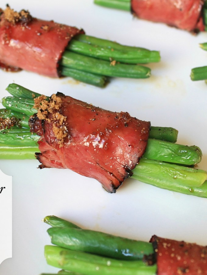 Brown Sugar String Beans Wrapped in Pastrami