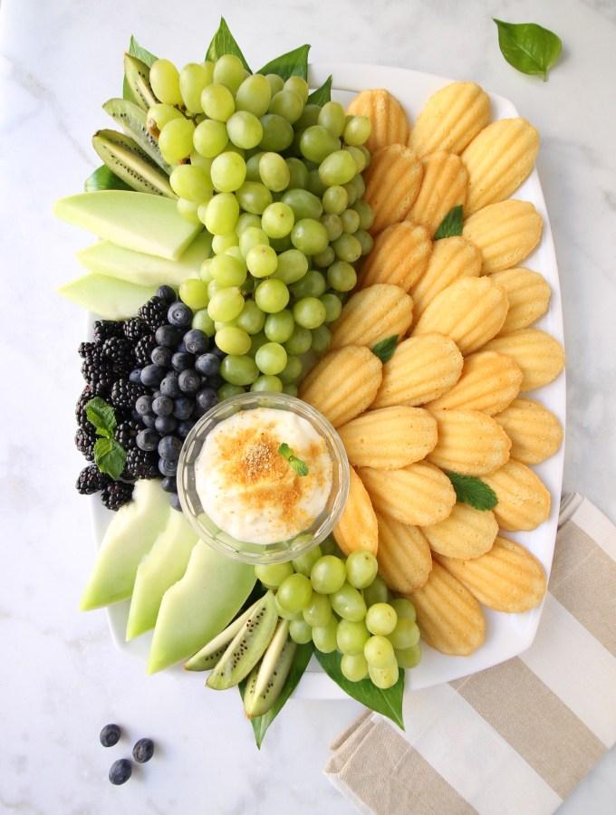 Green Goddess Fruit Platter with Cheesecake Dip
