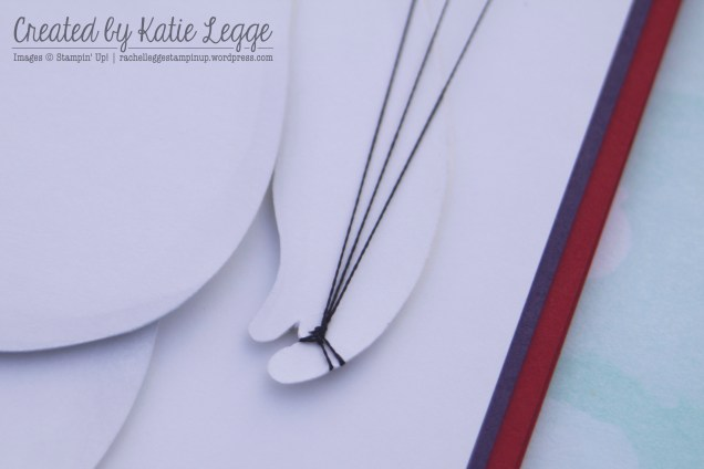 Stampin' Up! Big Hero 6 Baymax Birthday Card ~ Closeup of embroidery threa balloon strings | Created by Katie Legge rachelleggestampinup.wordpress.com