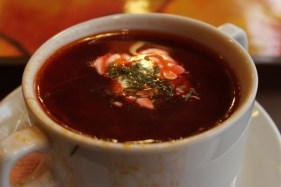 Borsch - Russian beetroot soup served with sour cream