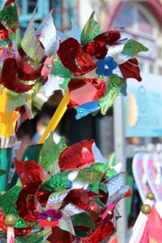 Vivid toys are crammed together in shopfronts