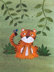 Tiger and a butterfly