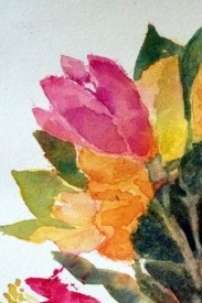 "Flower Bouquet experiment in saran wrap and watercolor. 3"" x 4"""