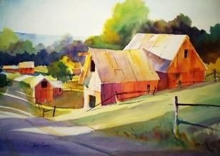 Tony Connor watercolor: Afternoon Farm