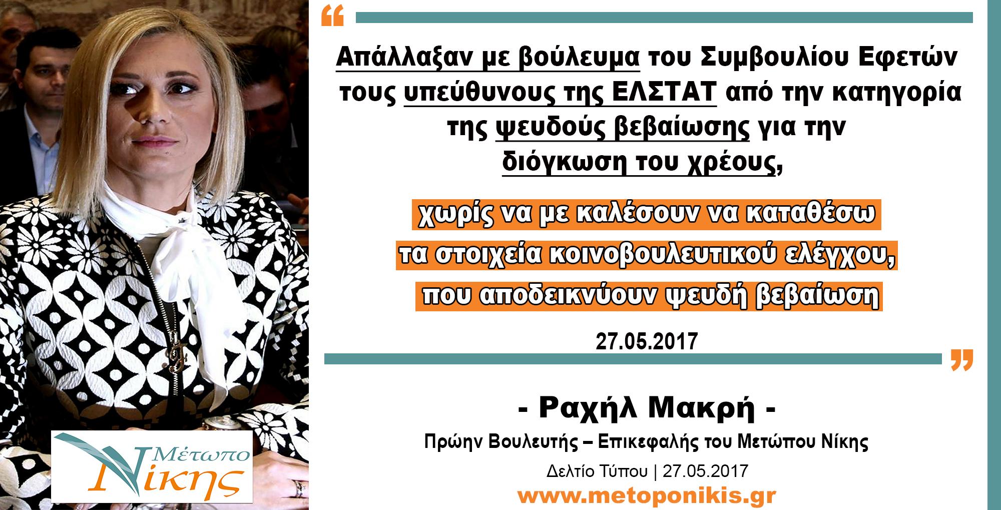 Ραχήλ Μακρή: «Απάλλαξαν με βούλευμα του Συμβουλίου Εφετών τους υπεύθυνους της ΕΛΣΤΑΤ από την κατηγορία της ψευδούς βεβαίωσης για την διόγκωση του χρέους, χωρίς να με καλέσουν να καταθέσω τα στοιχεία κοινοβουλευτικού ελέγχου, που αποδεικνύουν ψευδή βεβαίωση»