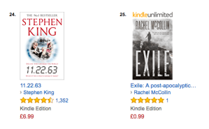 Exile next to Stepehn KIng in the Alternative History chart