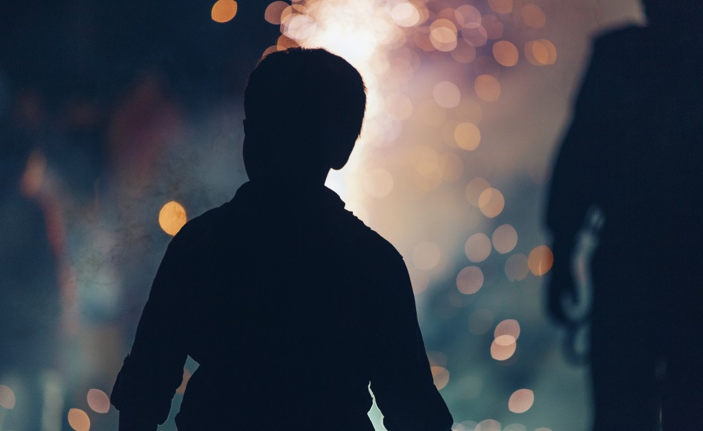 silhouetted boy