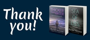 Thank you! text plus 3d images of Thicker Than Water and Sea of Lies
