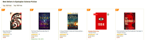 Dystopian Fiction charts - Brave New World at No 1, followed by The Fever King, A House Divided, 1984 and The Handmaid's Tale