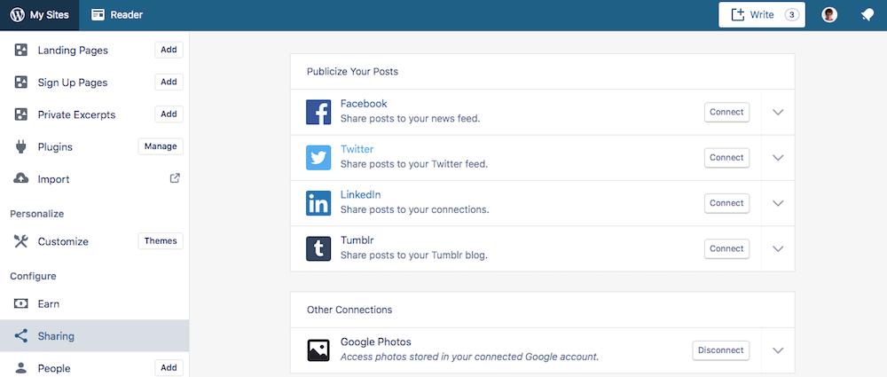 The social settings screen in WordPress.com