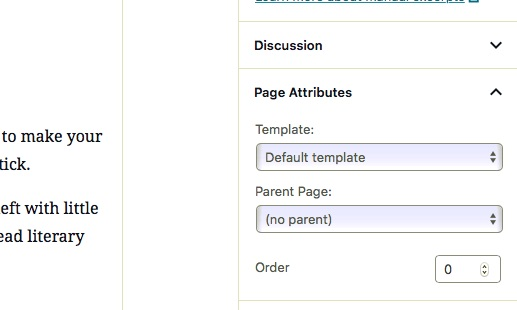 Selecting a page template when editing your page.