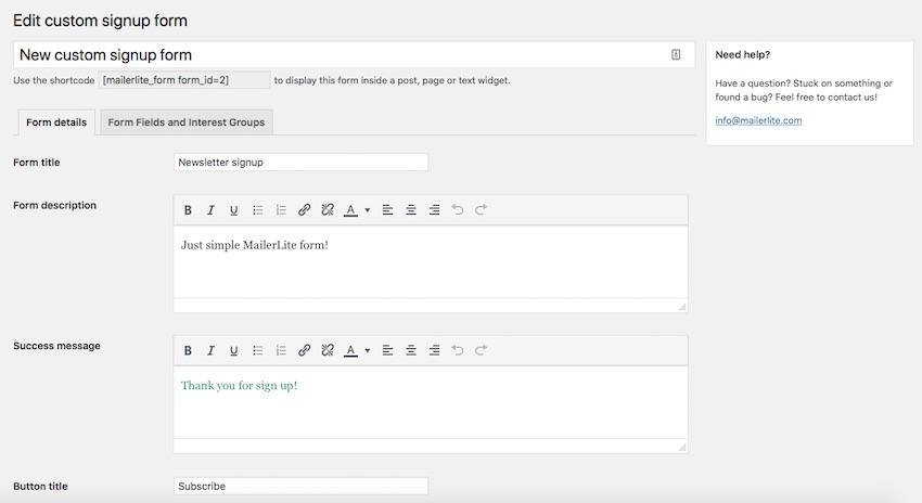 Creating the MailerLite form